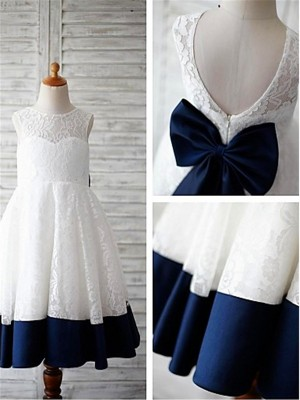 A-line Scoop Sleeveless Tea-Length Lace Flower Girl Dresses with Bowknot