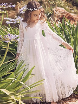A-Line/Princess V-neck Floor-Length Flower Girl Dresses with Lace