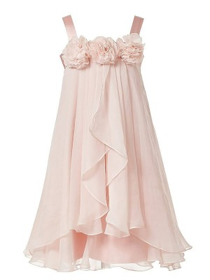 A-Line/Princess Straps Chiffon Tea-Length Flower Girl Dresses with Hand-Made Flower