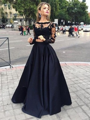 Ball Gown Long Sleeves Bateau Floor-Length Satin Dress