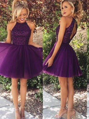 A-Line/Princess Halter Beading Sleeveless Short/Mini Tulle Dresses