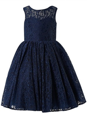 A-line/Princess Scoop Tea-length Flower Girl Dresses with Lace
