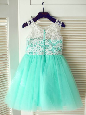 A-line Tea-length Tulle Flower Girl Dress with Lace