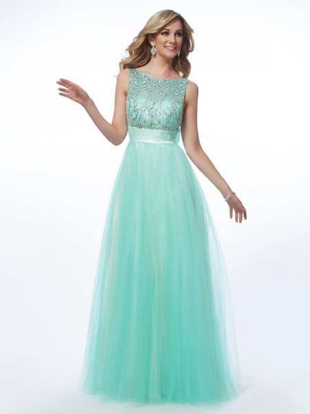 A-Line/Princess Bateau Net Sleeveless Long Dresses with Beading