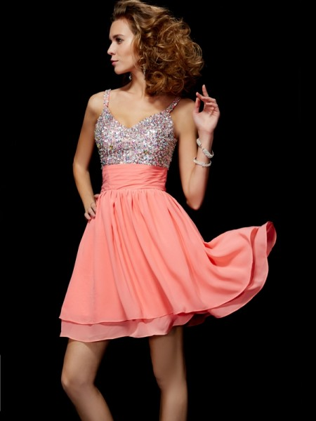 A-Line V-neck Chiffon Sleeveless Short Homecoming/Cocktail Dresses