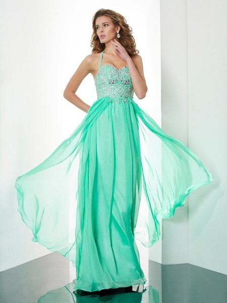 A-Line Halter Chiffon Long Dresses with Beading