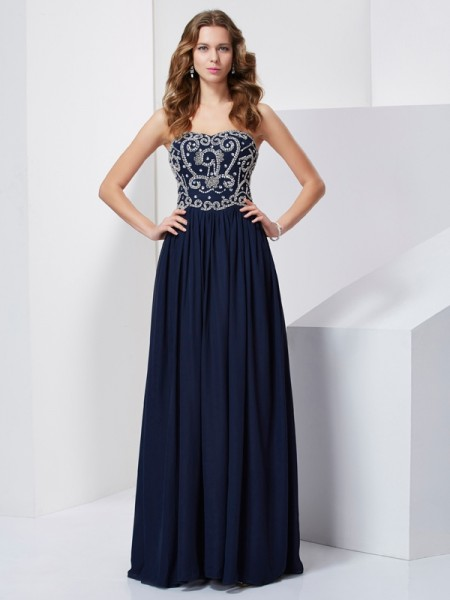 A-line/Princess Strapless Chiffon Long Prom/Evening Dresses with Beading
