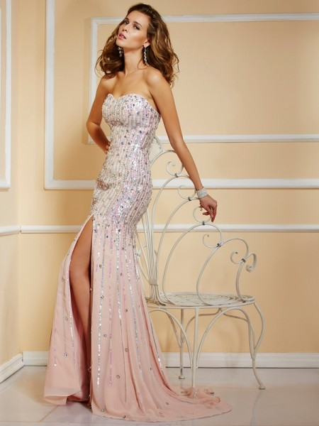 A-Line/Princess Sleeveless Strapless Chiffon Long Prom/Evening Dresses with Beaded