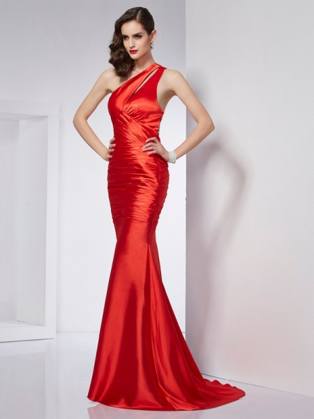 Sheath/Column One-Shoulder Elastic Woven Satin Dresses with Beading