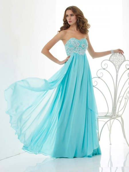 A-Line Sweetheart Chiffon Sleeveless Long Dresses with Beading