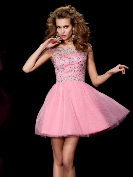 A-Line/Princess Bateau Sleeveless Satin Short Homecoming/Cocktail Dresses with Beading