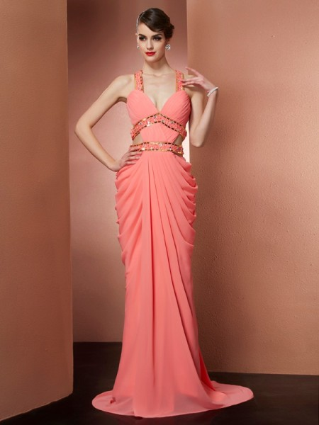 Column Straps Sleeveless Floor-length Chiffon Dresses with Beading