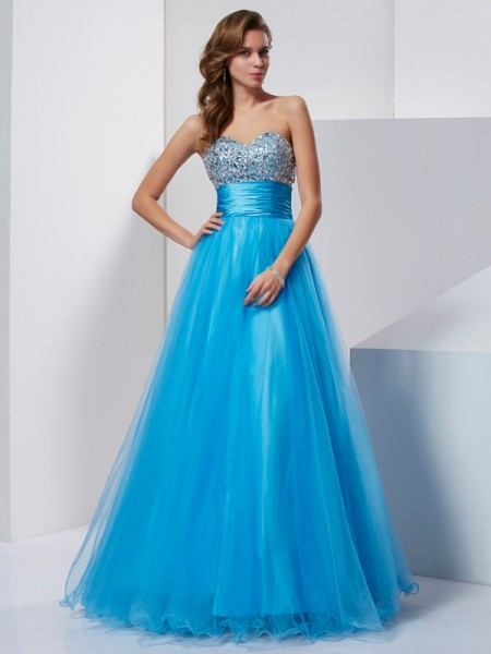 A-Line/Princess Strapless Sweetheart Floor-Length Tulle Dresses with Crystal