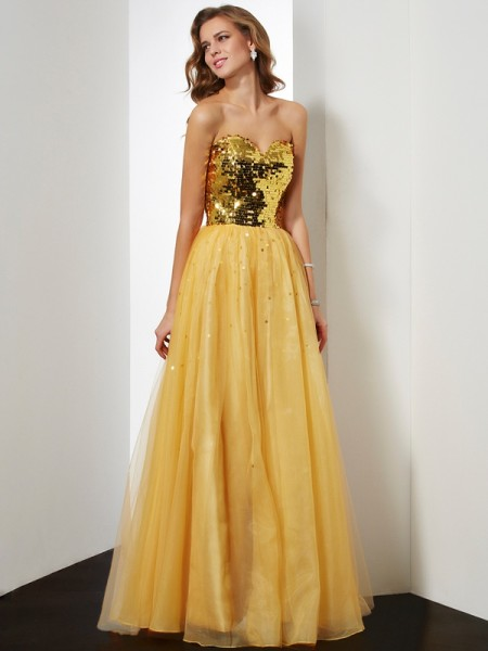 Ball Gown Sweetheart Sleeveless Floor-Length Organza Dresses with Sequin