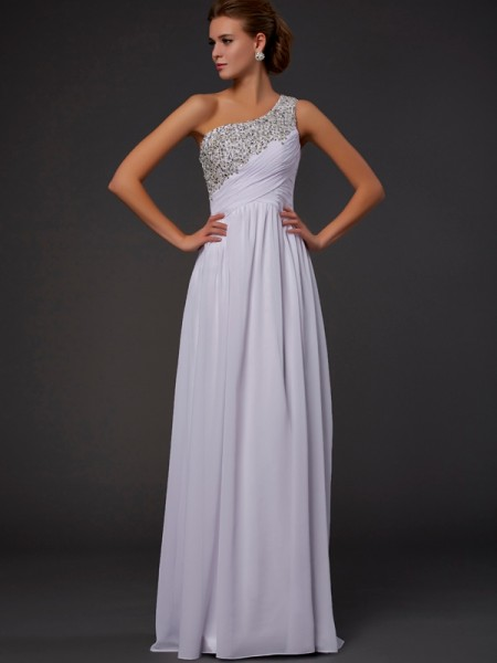Sheath/Column One-Shoulder Chiffon Floor-length Sleeveless Dresses with Beading