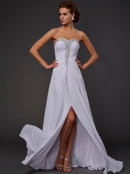 Sheath/Column Strapless Sweetheart Floor-length Chiffon Sleeveless Dresses with Beading