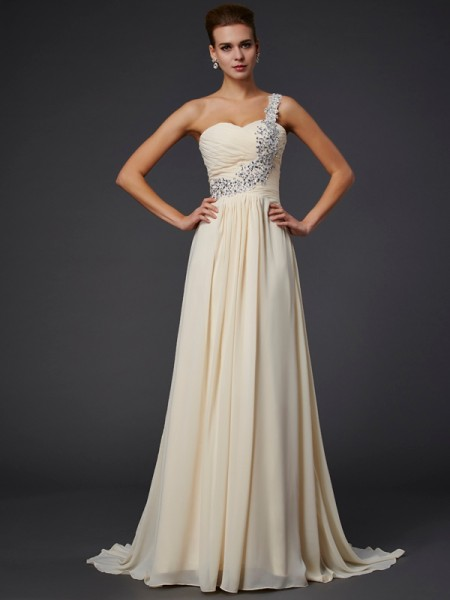 A-Line Sleeveless One-Shoulder Floor-Length Chiffon Prom/Evening Dresses with Beading Applique