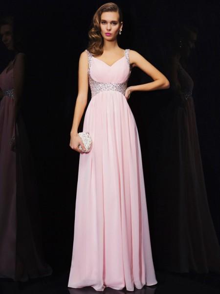 A-Line Chiffon Straps V-neck Long Dresses with Beading