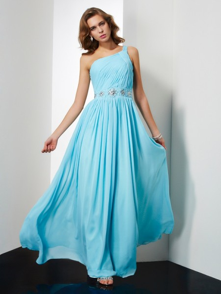 A-Line Chiffon One-Shoulder Sleeveless Long Dresses with Beading