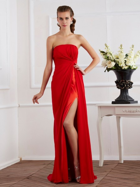 Sheath/Column Sleeveless Strapless Chiffon Floor-Length Dresses with Pleats