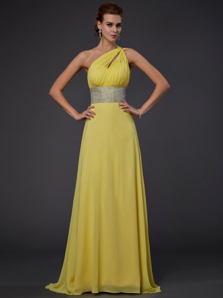 A-Line/Princess One-shoulder Sleeveless Floor-length Chiffon Evening/Prom/Formal Dresses with Beaded
