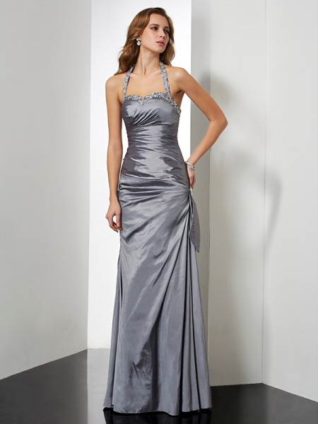 Trumpet/Mermaid Sleeveless Halter Floor-length Taffeta Dresses with Beading