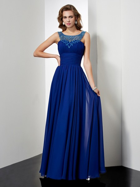 Empire High Neck Sleeveless Chiffon Long Dresses with Beading