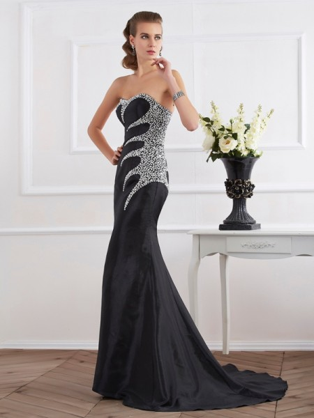 Trumpet/Mermaid Taffeta Strapless Sweetheart Floor-Length Evening/Formal Dresses with Beading