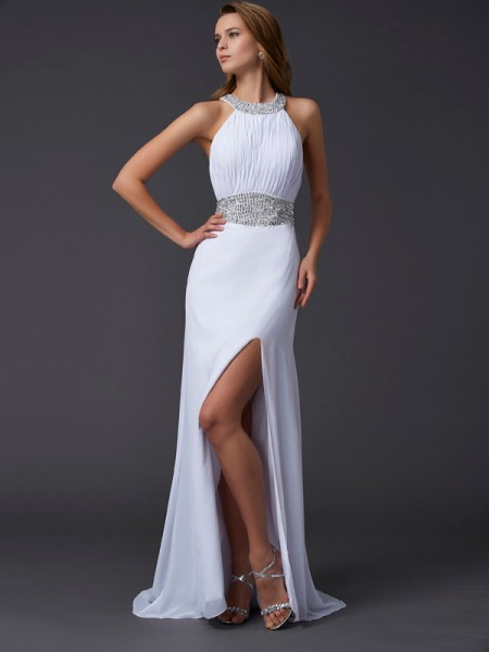 A-Line/Princess Sweep/Brush Train Scoop Chiffon Sleeveless Prom/Evening Dresses with Beading