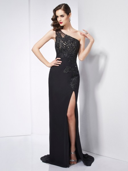 Sheath One-Shoulder Sleeveless Sweep/Brush Train Chiffon Prom/Evening Dresses with Applique