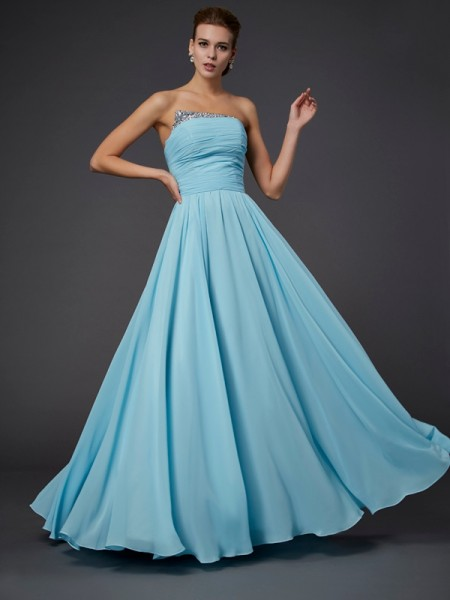 Sheath Strapless Floor-Length Sleeveless Chiffon Dresses with Beading