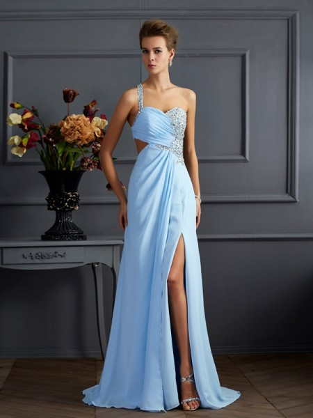 Sheath Column One-Shoulder Sleeveless Floor-length Chiffon Prom/Evening Dresses with Beading