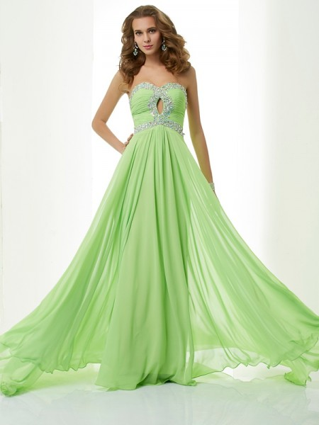 A-Line Sweetheart Sleeveless Sweep/Brush Train Chiffon Dresses with Beading