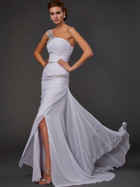 Sheath Sleeveless One-Shoulder Sweep/Brush Train Chiffon Dresses with Beading