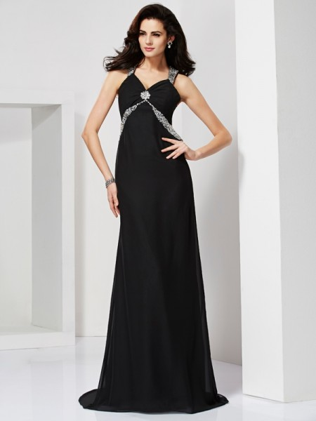 Sheath/Column Sleeveless Straps Sweep/Brush Train Chiffon Dresses with Beading