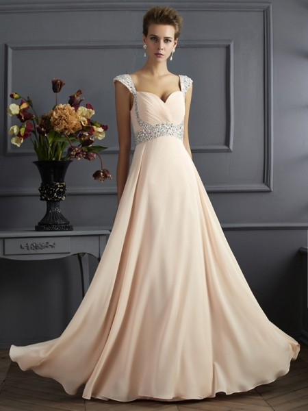 A-Line Straps Sleeveless Chiffon Long Dresses with Beading