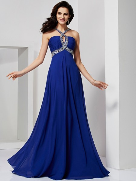A-line/Princess Sleeveless Sweep/Brush Train Chiffon Dresses with Beading