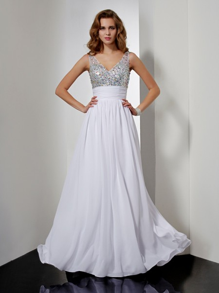 A-Line V-neck Sleeveless Floor-length Chiffon Dresses with Rhinestone