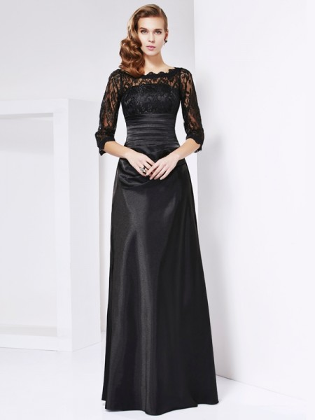 A-line/Princess 3/4 Sleeves Off-the-shoulder Elastic Woven Satin Dresses