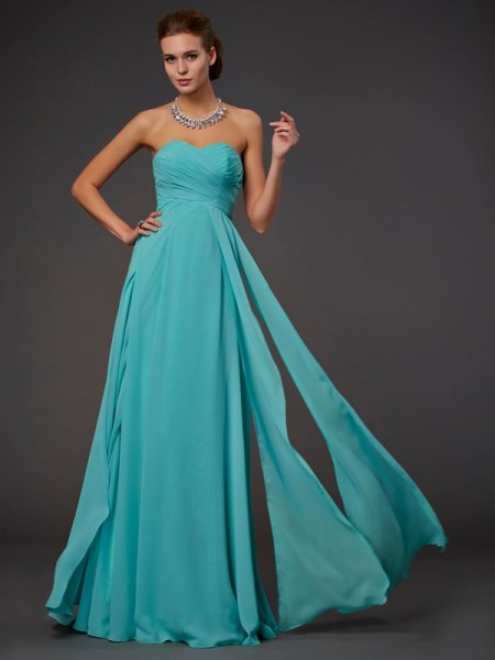 A-Line Sweetheart Sleeveless Floor-length Chiffon Prom/Formal Dresses with Pleats