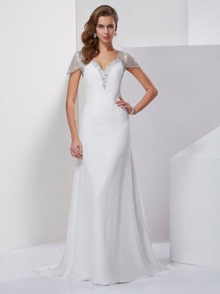 A-Line Sweetheart Short Sleeves Chiffon Sweep/Brush Train Prom/Evening Dresses with Beading