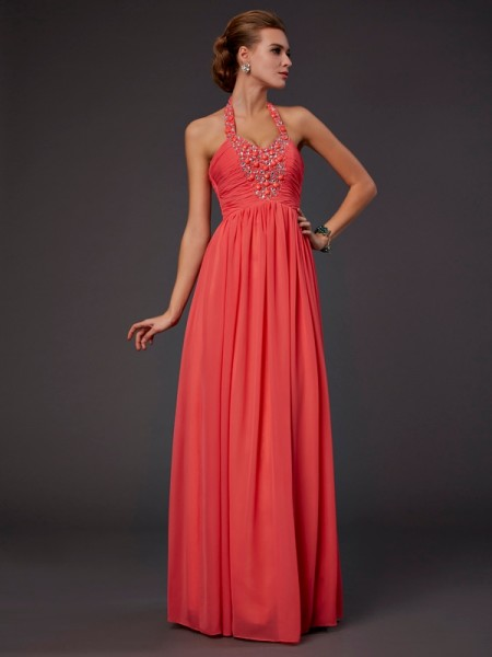 A-Line/Princess Floor-Length Halter Chiffon Dresses with Hand-Made Flower with Beading