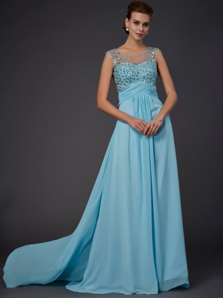 A-Line Sleeveless Scoop Sweep/Brush Train Chiffon Dresses with Beading
