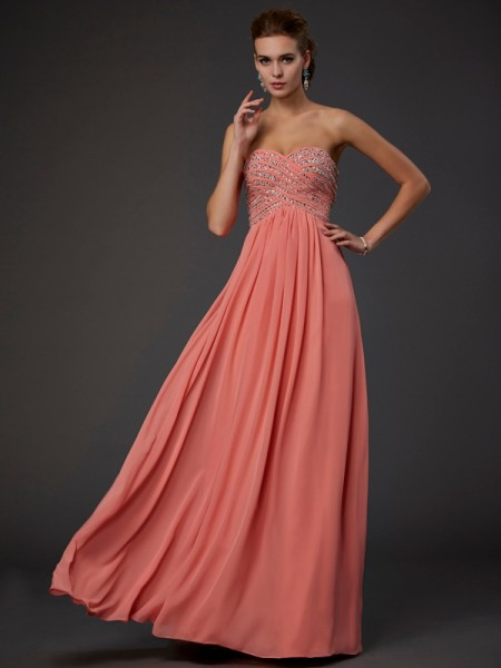 A-line/Princess Sleeveless Sweetheart Floor-length Chiffon Evening/Prom/Formal Dresses with Beaded