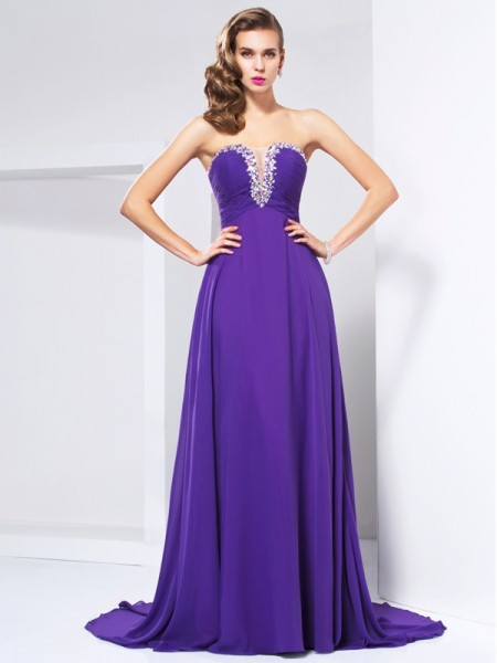 A-Line Sweep/Brush Train Chiffon Sweetheart Sleeveless Dresses with Beading