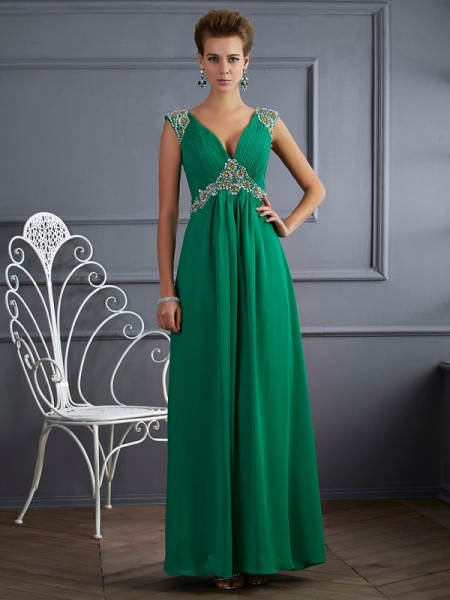 A-Line V-neck Short Sleeves Chiffon Ankle-Length Prom/Evening Dresses with Beading