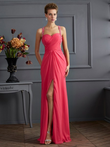 Empire Sweetheart Sleeveless Chiffon Long Prom/Evening Dresses with Beading