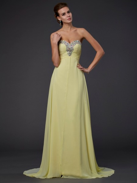 A-Line Sweetheart Sleeveless Long Chiffon Dresses with Beading