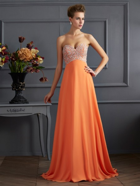 A-Line/Princess Sweetheart Sleeveless Chiffon Long Dresses with Rhinestone