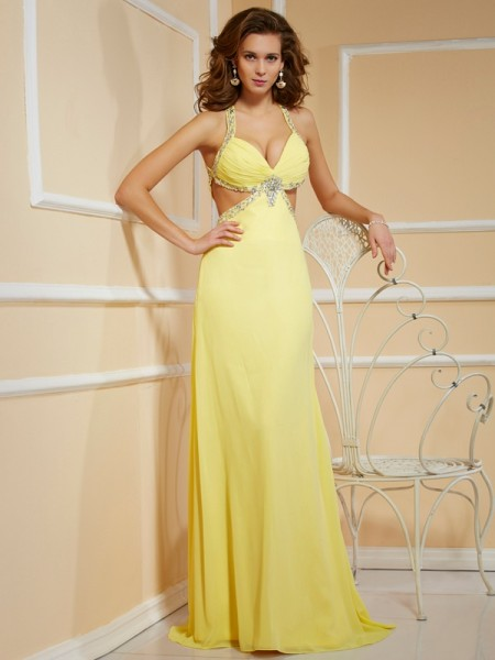 Sheath Spaghetti Straps Floor-Length Sleeveless Chiffon Dresses with Beading